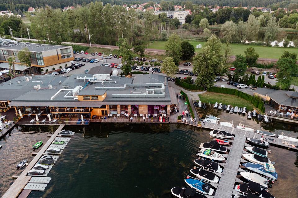 restauracja Przystań w Olsztynie z drona