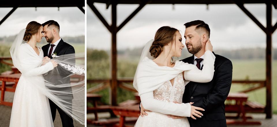 zdjęcia pary młodej w dniu ślubu- park w Jonkowie
