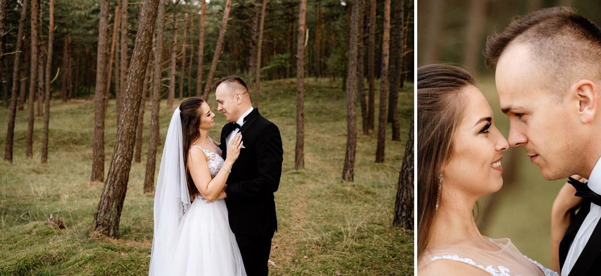 sesja ślubna nad morzem w lesie Sztutowo
